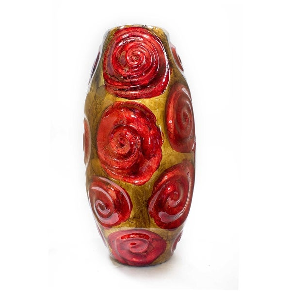 """14"""" Copper, Red, and Gold Ceramic Table Vase"""