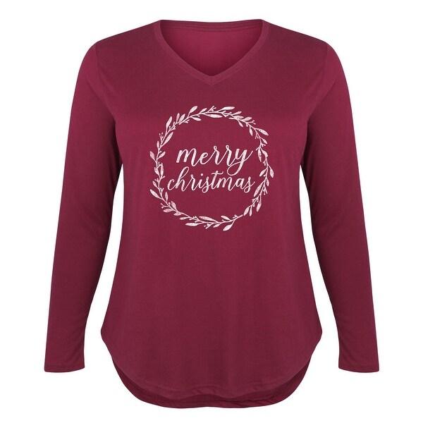 Shop Merry Christmas Wreath Ladies Plus V Neck Long