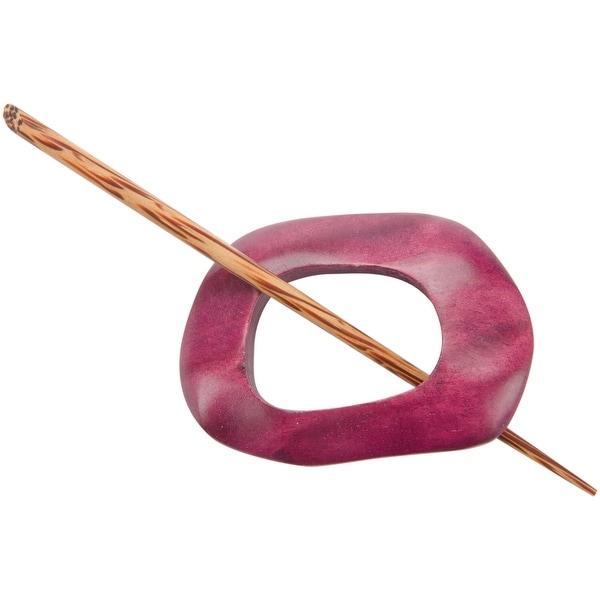 Wood Shawl Pin-Berry