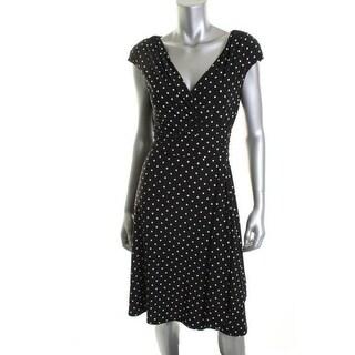 Ralph Lauren Womens Wear to Work Dress Matte Jersey Polka Dot - 14