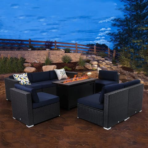 Sophia & William 9-Piece Patio Furniture Sectional Sofa Set with CSA Approved Propane Fire Pit