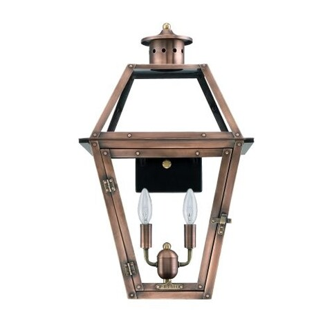 """Primo Lanterns OL-18E Orleans 15"""" Wide 2 Light Outdoor Wall-Mounted Lantern in Electric Configuration"""