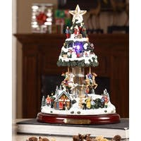 "12.5"" LED Lit and Musical ""Merry Christmas"" Village Tree Carousel Decoration"