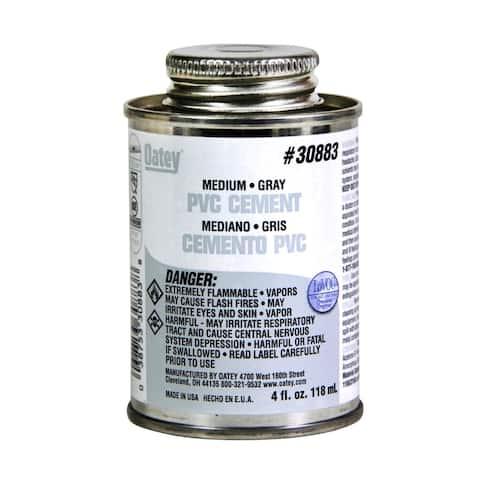 Oatey 30883 Medium PVC Solvent Cement, 4 Oz, Gray