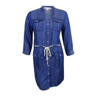 MICHAEL Michael Kors Women's Belted Denim Shirtdress (Indigo, XL) - xL