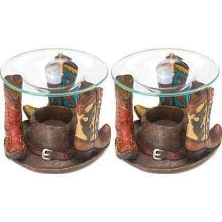 Set of 2 Cowboy Boots Oil Warmers
