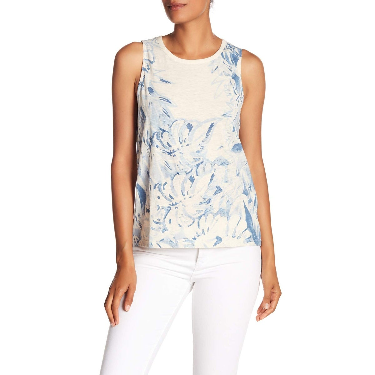 LUCKY BRAND Womens White Floral Print Cutout Tank Top XS