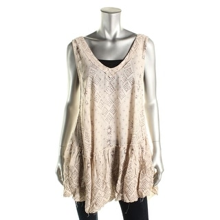 Free People Womens Tunic Top Printed Double V-Neck