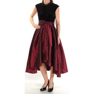Womens Red Sleeveless Tea Length Trapeze Formal Dress Size: 2XS
