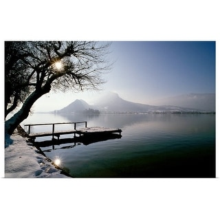 """""""Snow covered dock and mountains"""" Poster Print"""