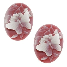 Vintage Style Lucite Oval Cameo Red With White Butterfly 25x18mm (2)