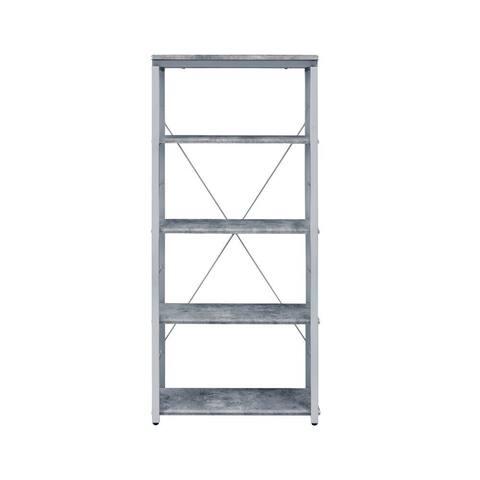 Q-Max Simple And Clean Design Metal Tube Veneer Bookshelf