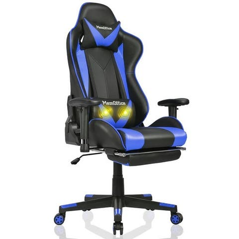 MemOffice Gaming Chair Racing Style Office Chair with Retractable Arms,Adjustable Massage Lumbar and Footrest