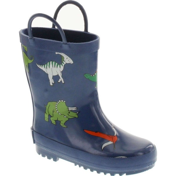Foxfire For Kids 600-65 Dark Blue With Dinosaurs Rubber Boots