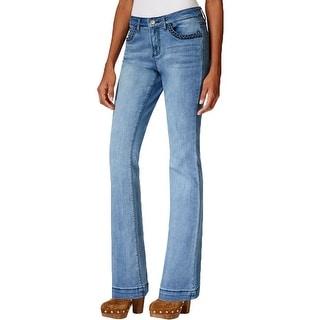 Earl Jean Womens Flare Jeans Denim Braided Pocket