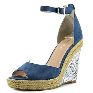 Charles By Charles David Bay Women Open Toe Suede Blue Wedge Sandal