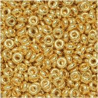 Toho Demi Round Seed Beads, Thin 8/0 (3mm) Size, 7.4 Grams, 712 Metallic Gold