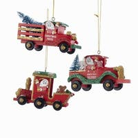 "Pack of 6 Red, Gold & Green Glittered North Pole Santa Train, Truck and Wagon Christmas Ornaments 2"" - RED"
