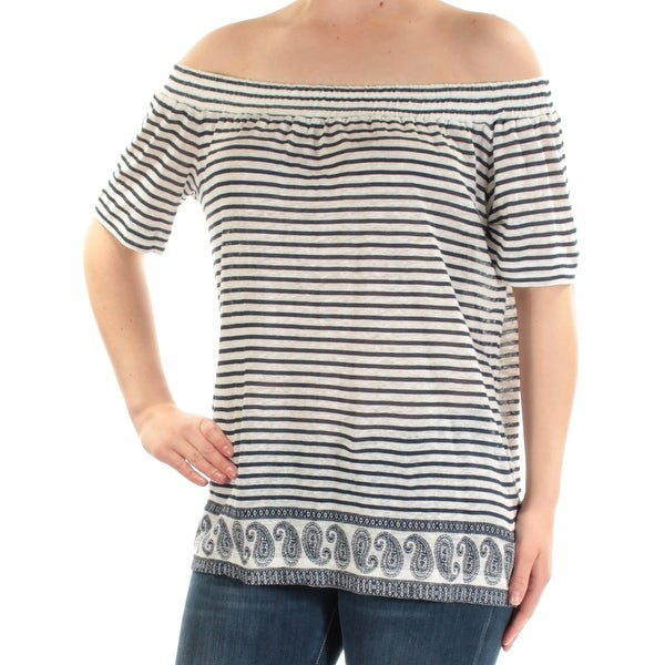 bafd9f57bb818 Shop VINCE CAMUTO Womens Navy Striped Short Sleeve Off Shoulder Top Size  M  - Free Shipping On Orders Over  45 - Overstock - 22644590