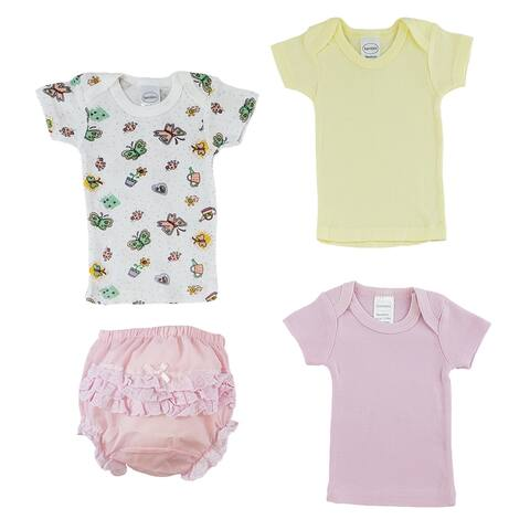 """Pack of 4 Yellow, White and Pink Short Sleeve T-Shirt and Pants Underwear for 0 to 6 Months, 8"""""""