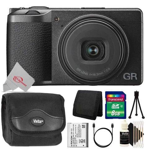 Ricoh GR III Digital Camera + 8GB Memory Card + Wallet + Case + Mini Tripod + 3pc Cleaning Kit
