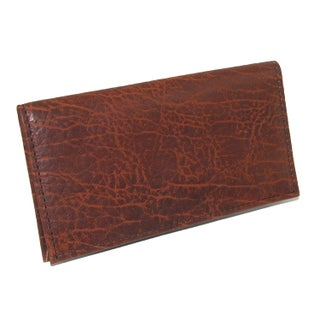 Boston Leather Textured Bison Leather Checkbook Cover - One size