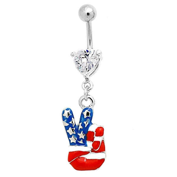 "Stainless Steel Navel Belly Button Ring Heart CZ with American Flag Finger ""Peace V"" Sign Dangle"