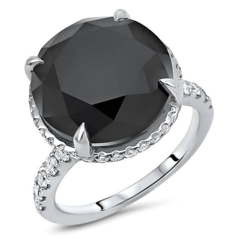 18k White Gold 8 & 9/10ct Black Round Diamond Carrie Style Engagement Ring