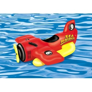 """42"""" Water Sports Inflatable Ride-On Sea Plane Swimming Pool Float Toy - Yellow"""