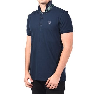 Versace Men Medusa Head Print Undercollar Polo Shirt Navy Green