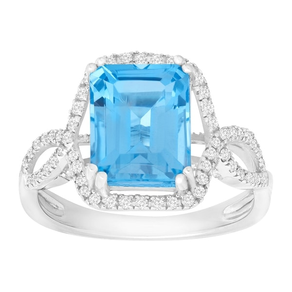4 ct Natural Swiss Blue Topaz & 1/3 ct Diamond Ring in 14K White Gold