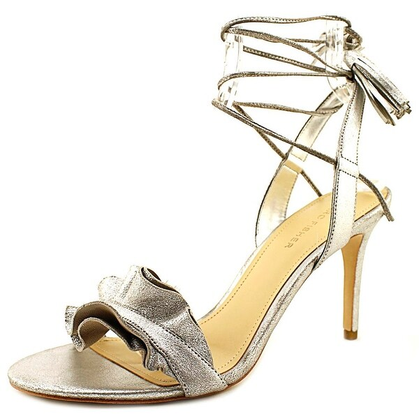 Marc Fisher Bamba Women Open Toe Leather Silver Sandals