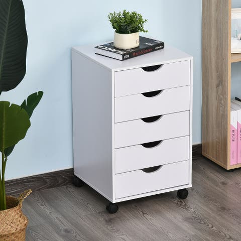 HomCom 5 Drawer Storage Organizer Filing Cabinet with Nordic Minimalist Modern Style & Caster Wheels for Mobility