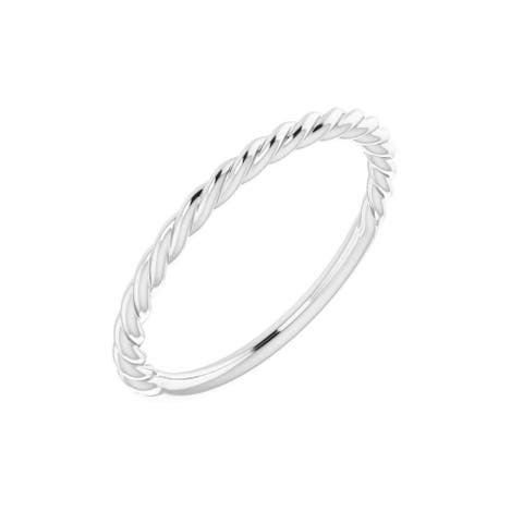 Platinum 1.5 mm Twisted Rope Band (Size :7)
