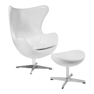 Offex Melrose White Leather Egg Chair With Tilt Lock Mechanism And Ottoman