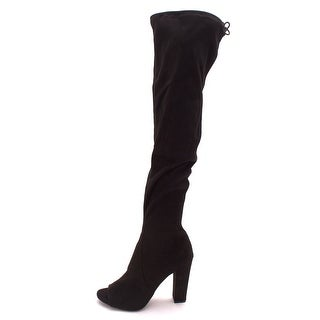 Carlos by Carlos Santana Womens Fitz Fabric Open Toe Over Knee Fashion Boots