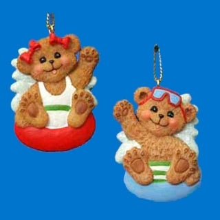 Club Pack of 24 Beach Boy and Girl Bear Christmas Ornaments for Personalization