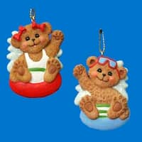 Club Pack of 24 Beach Boy and Girl Bear Christmas Ornaments for Personalization - multi