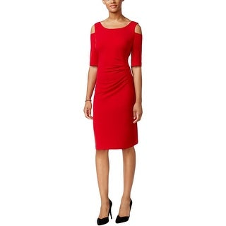 Connected Apparel Womens Cocktail Dress Ruched Knee-Length