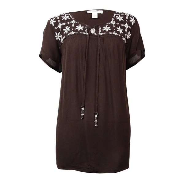 e6dc502cf99 Shop Charter Club Women's Embroidered Sequined Peasant Top - On Sale ...