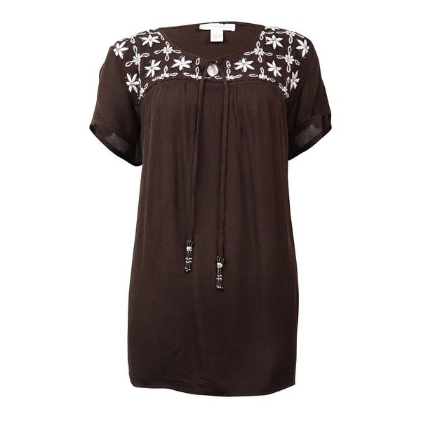 Charter Club Women's Embroidered Sequined Peasant Top