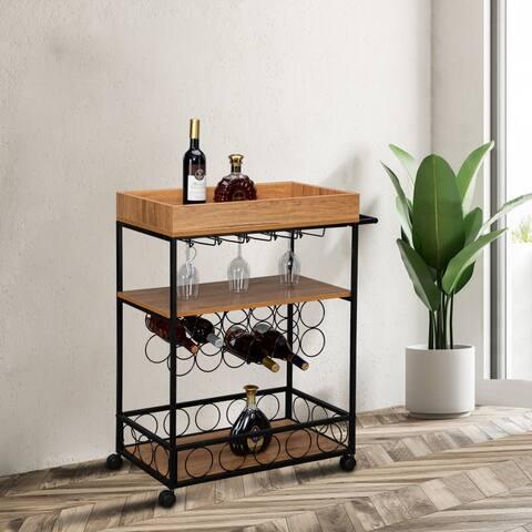 3-Tiers Wooden Kitchen Cart Wine Rack Glass Holder