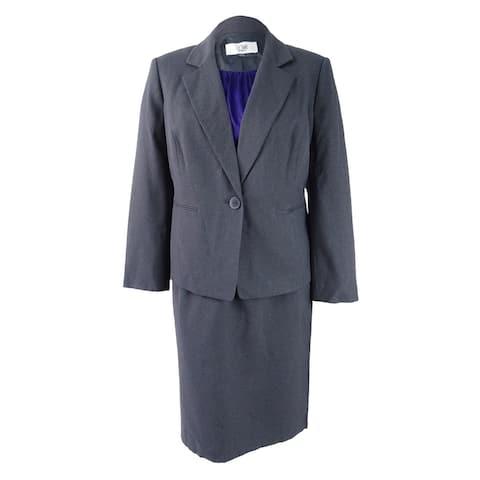 Le Suit Women's Three-Piece One-Button Skirt Suit (14, Ash/Regal) - Ash/Regal - 14