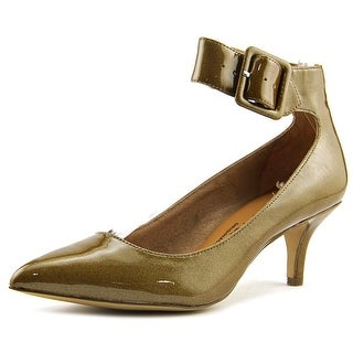 Nina Flip Women Pointed Toe Patent Leather Tan Heels