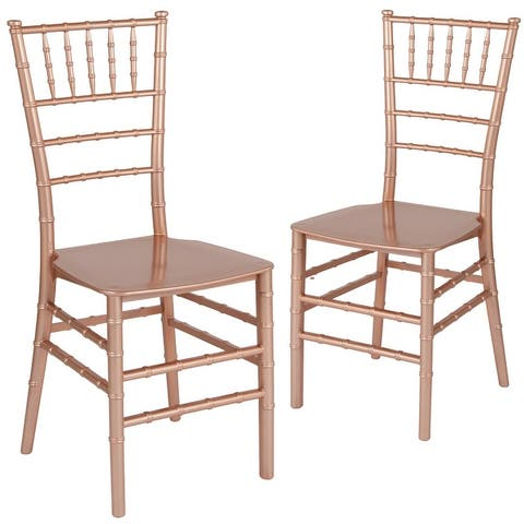 "2 Pack Gold Resin Stacking Chiavari Chair - 15""W x 18.75""D x 35""H"