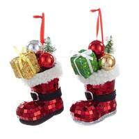 """Club Pack of 12 Red Mirror Santa Boot with Decorations Christmas Ornaments 4.5"""""""
