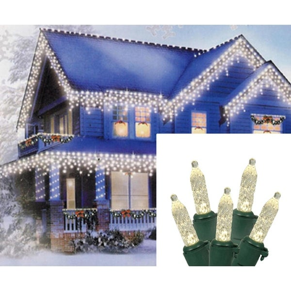 Set Of 70 Warm White Led M5 Icicle Christmas Lights Green Wire