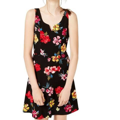 Planet Gold Junior's A-Line Dress Black Size XS Split-Neck Floral Print