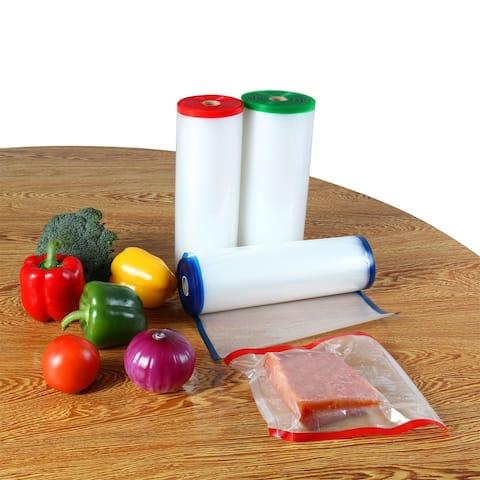 3 Rolls Textured Vacuum Vegetable Food Sealer Saver Seal Bags Storage Rolls 50ft Length