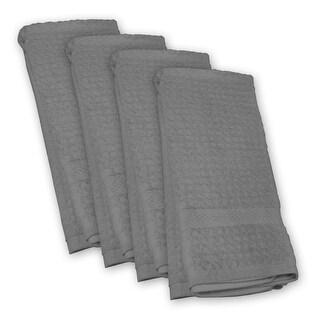 "Set of 4 Waffle Gray Kitchen Essential Rectangular Dishtowels 18"" x 28"""